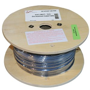 1 / 8 X 500 FT, 7X7 Zinc-Aluminum Coated Cablee