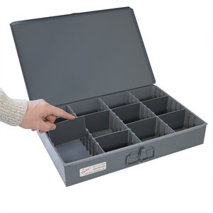 Metal Storage Box, 8 Adjustable Dividers