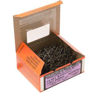 "1-1 / 4"" Bronze Stainless Steel Maze Smooth Shank Nail, 1 LB Ctn"