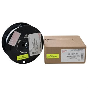 5 / 32 X 250 FT, 7X19 Galvanized Aircraft Cable, Left Hand Lay