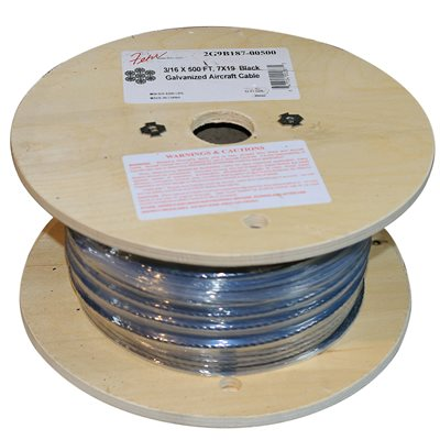 1 / 8 X 500 FT, 7X19 Black Galvanized Aircraft Cable