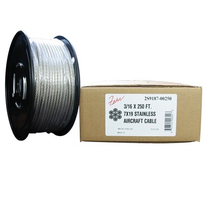 3 / 32 X 250 FT, 7X7 Stainless Steel Aircraft Cable