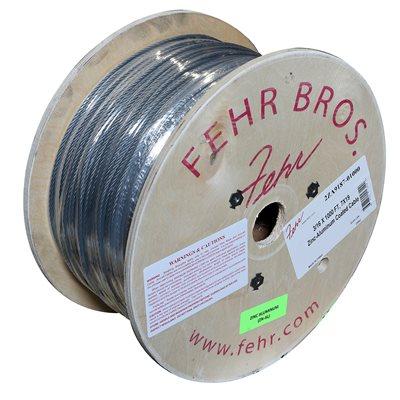 3 / 16 X 1000 FT, 7X19 Zinc-Aluminum Coated Cable