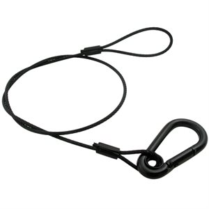 1 / 8 X 18 7X7 Black Galvanized Lighting Restraint Cable with 5 / 16 Spring Hook