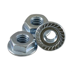 1 / 4-20 Serrated Flange Nuts, 7 / 16 Across Flats X 1000 Pcs