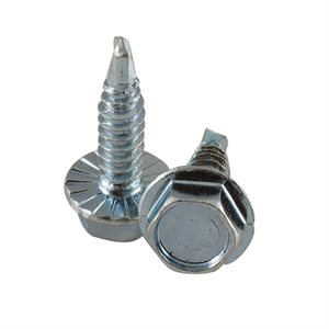 1 / 4-14 X 1 Hex Serrated Washer Head Drill-Tap Screw, 7 / 16 Across Flats X 1000 Pcs