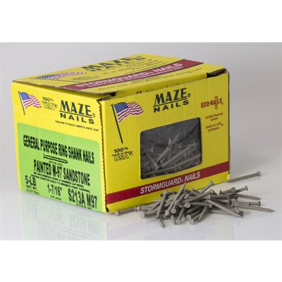 "White Maze 1-7 / 16"" Ring Shank Trim Nail-5 Lb Ctn"
